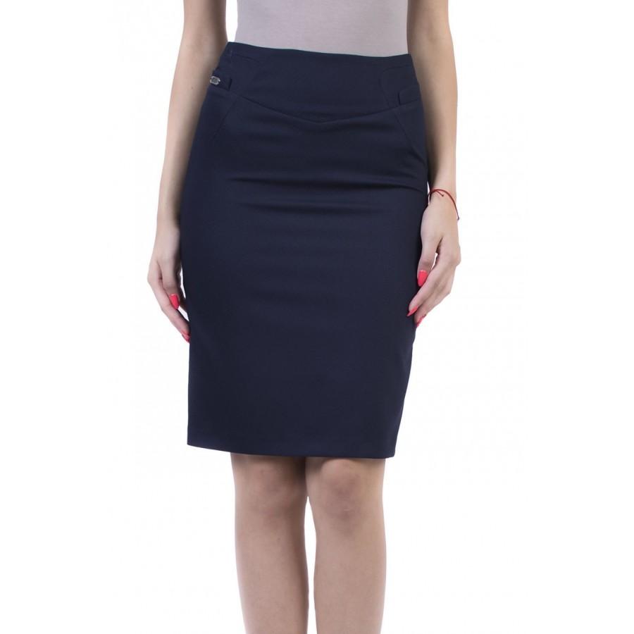 Straight Women's Skirt in Dark Blue 17526